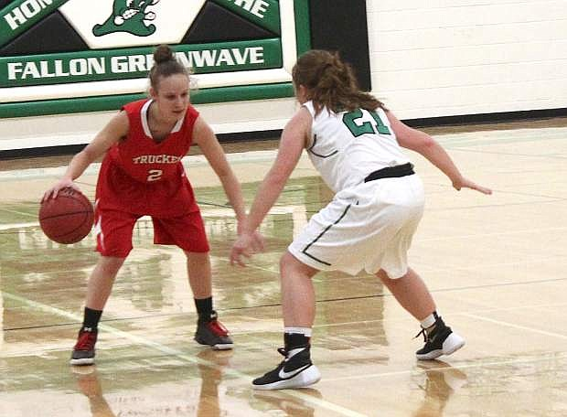 Zoey Swisher, right, blocks the path of Truckee's Tommie Jespen during a game earlier this season.