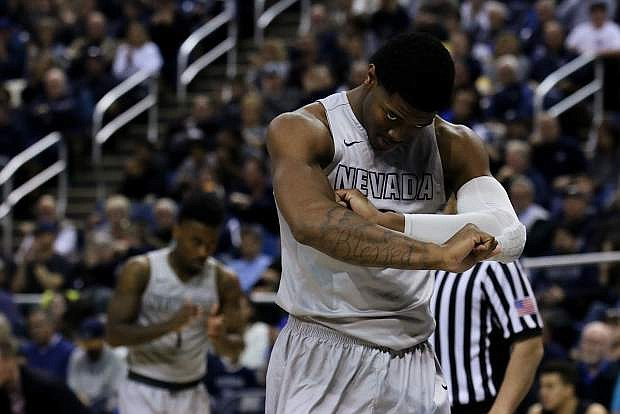 Nevada's Cameron Oliver reacts after a defensive play in the second half against Boise State on Wednesday at Lawlor Events Center.