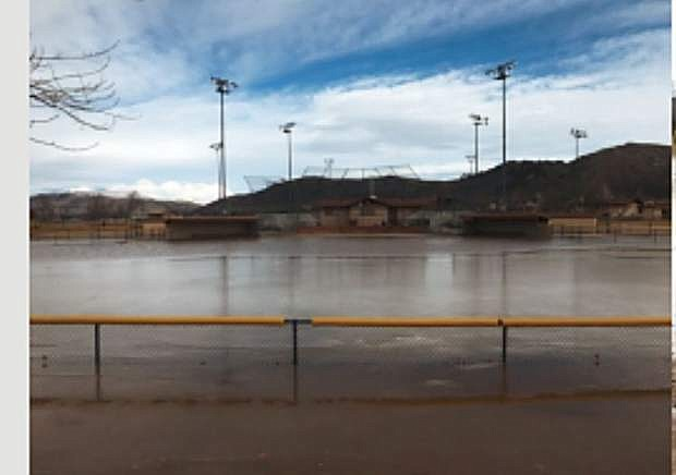Flooding is shown at Pete Livermore Sports Complex.