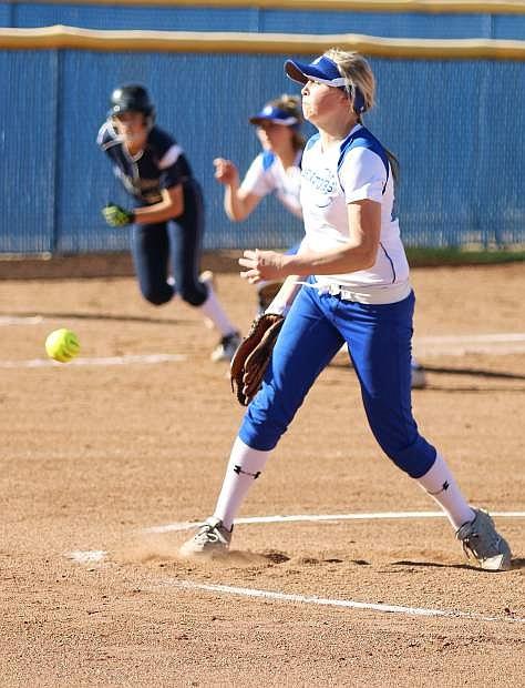 Carson's Lauren Lemburg pitches last season against Damonte Ranch.