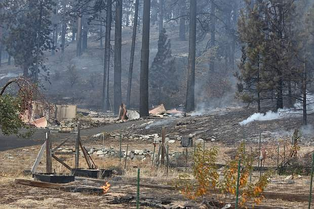 Just remnantsremain of one of 23 homes lost on Franktown Road in the Little Valley fire.