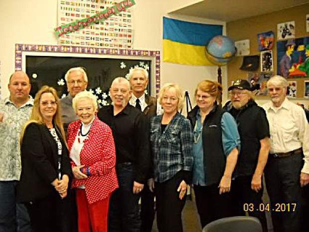 Nevada Republican Central Committee representatives Ken Gray, Vida Keller, Don Bergstrom, Kathleen Sliter, Scott Keller, Dave Hockaday, Elaine Bergstrom, Mary Ann Sichak, Andy Sichak and Garry Simmons. Not pictured are Dave Ray and Cliff Yeater.