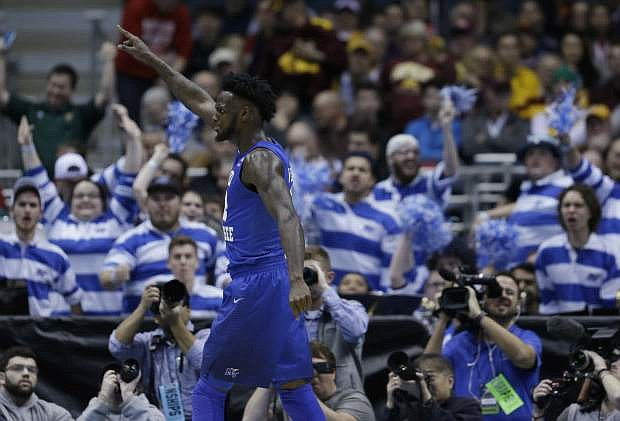 Middle Tennessee State's JaCorey Williams celebrates during the second half against Minnesota on Thursday.