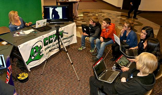 Churchill County Middle School students participate in Nevada Ready 21 Digital Learning Day at the Legislature in Carson City on Wednesday,