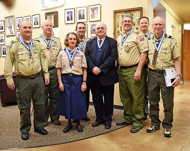 2016 Silver Beaver Recipients are Steve Kenzer, left, Ron Thornton, Rita Hemmert, Derek Allen, Thierry Barkley, Alan Perazzo, David Van Wagenen and Brian Crane.