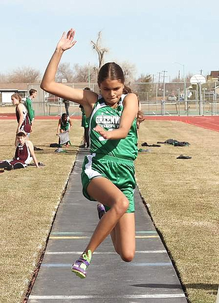 Bailee Walker-Morris comes in for a landing during the long jump.