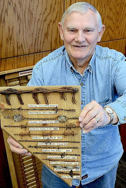 Mike Call shows off one of his barbed wire pieces. Displays by Call and other collectors will be on display during the 2017 Western Collectibles Show March 24-25 at the Carson Valley Inn.