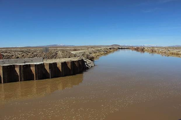 Water still maintains a high level in the V-line canal at a diversion point that will send water to Sheckler Reservoir and the desert.