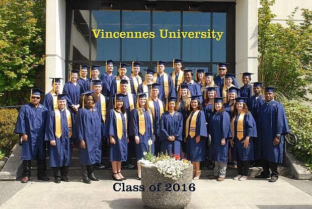 Vincennes University graduates pose upon competion of their programs in 2016 in Bremerton, Wash., at Naval Base Kitsap.