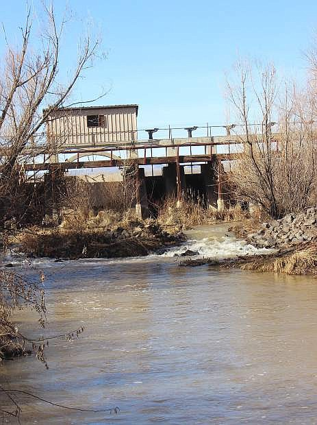 Water flows back into the Carson River at Diversion Dam.
