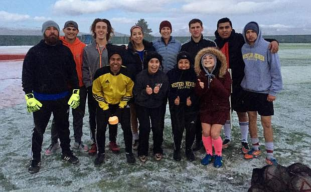 The women and men on the Western Nevada College Soccer Club have been training together through a cold and wet winter.