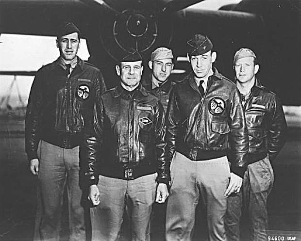 Taken on April 18, 1942, before takeoff. Front row: pilot, Lt. Colonel James Doolittle; copilot, Captain Richard Cole. Rear row; Lt. Henry A. Potter, navigator; SSgt. Fred A Bremer, bombardier/gunner; and SSgt. Paul J. Leonard, flight engineer/gunner.