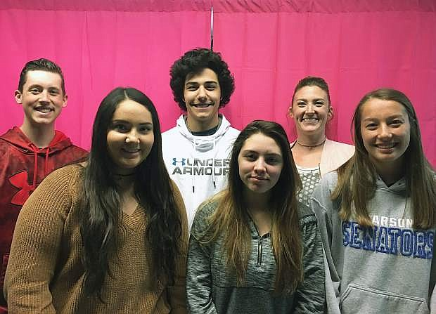 Carson High School students from left: Brandon Browning, Diana Lobato, Kyle Papke, Destiny McGilvray, photography instructor Kara Ferrin, and Ashley Britt.
