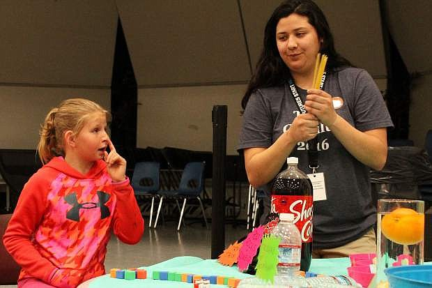 Lilly VanGorder, 10, looks on during science club at the Carson Valley Boys & Girls Club. She said she likes science because she can find out new things.