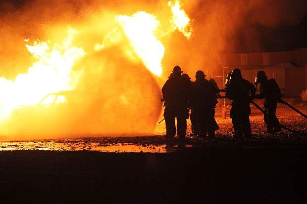 New firefighters face down propane blazes at the Carson City Regional Fire Academy last month.