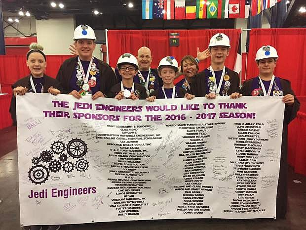 The Jedi Engineers thank the sponsors who helped the team compete at the FIRST World Festival Championships.