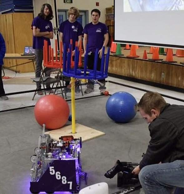 The Carson High School Robotics team participates in Robotics Night April 12 at Fritsch Elementary School.