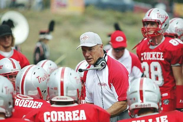Truckee football coach Bob Shaffer talks to his players in this file photo.