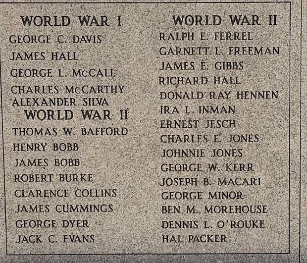 Behind Fallon City Hall is a list of names of soldiers killed during World War I and II.