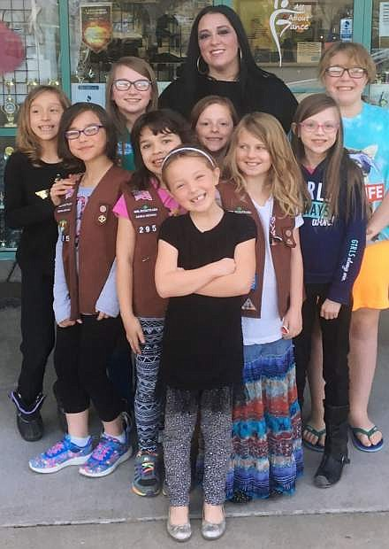 2017 Ruby Award recipient Emily Brown with members of Girl Scout Troop 295
