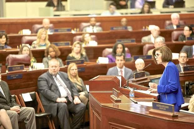 Democratic U.S. Senator Catherine Cortez Masto addresses the assembly Thursday afternoon at the Legislature.