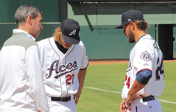 """Announcer Ryan Radtke, left, the """"Voice of the Aces,"""" talks to Reno pitchers Matt Koch (20) and Braden Shipley (24) at Media Day."""
