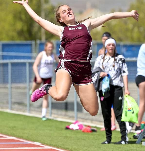 Dayton's Ashley Mason long jumps at a previous meet held at Carson High on April 22nd.