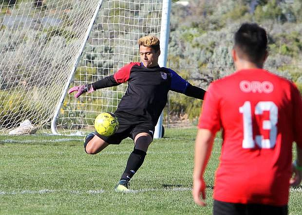 Goalie Efren Ramirez advances the ball during the Wild West Shootout tournament.