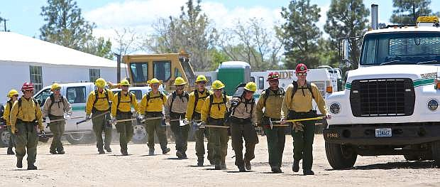 NDF candidates head toward the mock fire line Thursday during training in Washoe Valley.