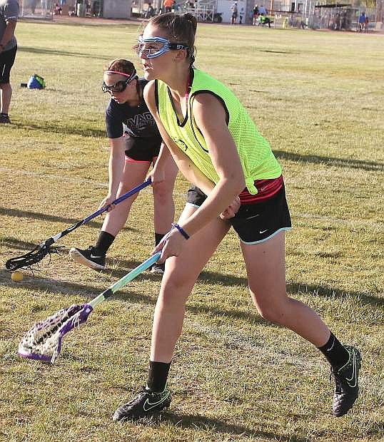 Taryn Barrenchea watches her shot fly to the net at Churchill County Regional Park.
