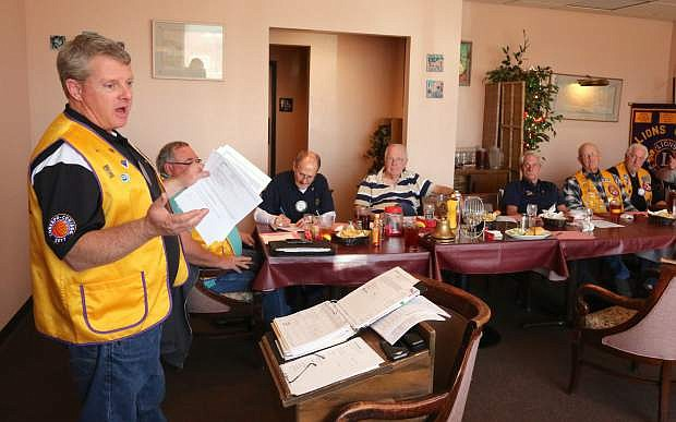King Lion Tim Kniffen leads the weekly Carson City Host Lions Club meeting at Tito's Mexican Restaurant.