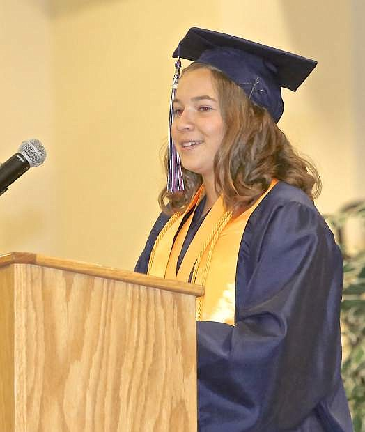 Co-valedictorian Clare Davison makes comparisons of life and running in her speech Saturday at Sierra Lutheran graduation.
