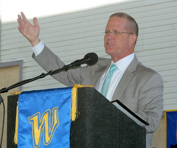 Lt. Gov. Mark Hutchison delivers the commencement address at the 2017 Western Nevada College commencement ceremony on Monday.