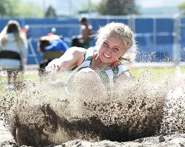 Fallon's Whitney Skabelund breaks a personal record to qualify for state in the long jump.