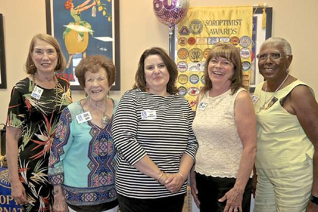 The Soroptomist 2017-2018 Board of Directors are (l-r): Assistant Treasurer Ada White, Treasurer Arlene Gleich, President Sherry GriffinGrundy, Secretary Cynthia Bunt, and President-Elect Mary Luster. The Soroptomists celebrated 60 years of improving the lives of women and girls through programs leading to social and economic empowerment Wednesday night at the Bleu Cafe.