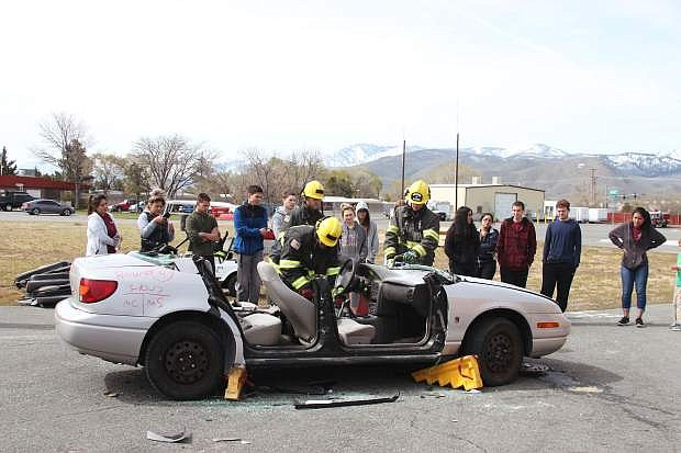 Carson High School CTE health sciences students work with Carson Fire Department for EMT skills training as part of their health sciences curriculum.