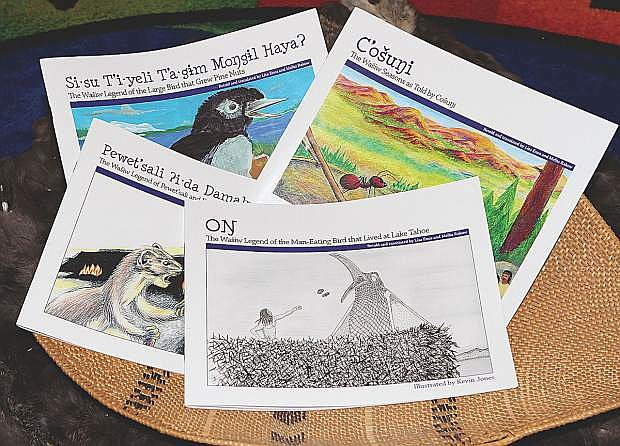 The four Washoe books written and translated by Lisa Enos and Tribe Elder Melba Rakow are shown here Friday.