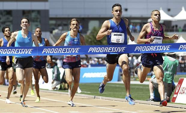 Robby Andrews, second from right, wins the men's 1500 meters ahead of second-place finisher Matthew Centrowitz, right, at the U.S. Track and Field Championships, Saturday, June 24, 2017, in Sacramento, Calif. (AP Photo/Rich Pedroncelli)