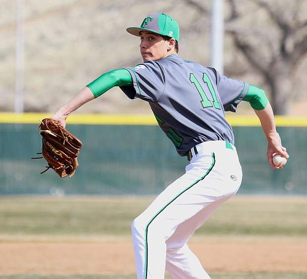 Fallon pitcher Hayden Strasdin was one out away from a complete-game win against McQueen.
