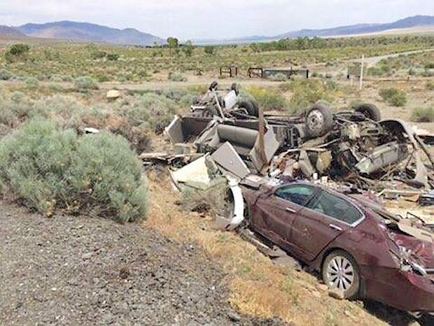A three-vehicle crash killed a Texas woman Saturday on U.S. Highway 95 south near Walker Lake.