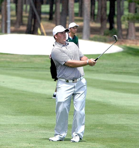 Chad Pfeifer watches his shot during the American Century Championship at Edgewood Tahoe Golf in Stateline in 2014.