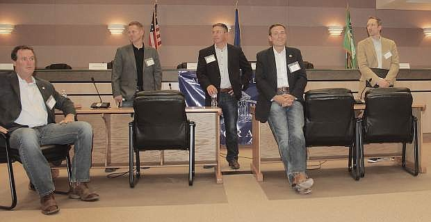 """Those who made the premiere """"AG for a Day"""" trip across Nevada last year included, from left, Greg Zunino, Shaun Bowen, Brett Kandt, Attorney General Adam Laxalt and Daniel Westmeyer."""