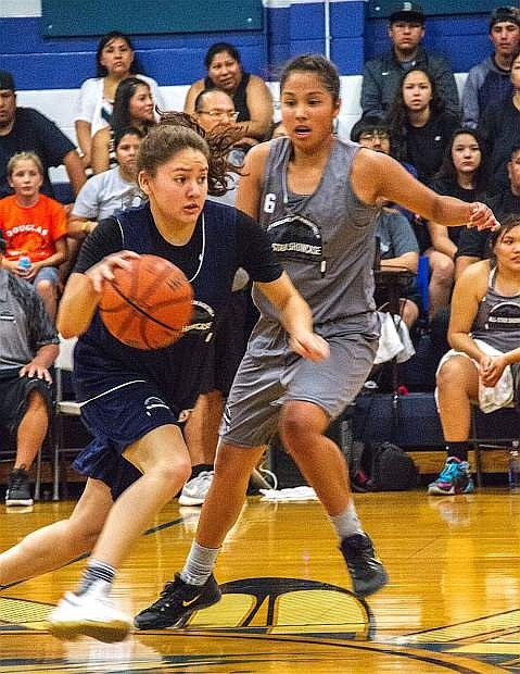 Anhelica Shanrock drives to the hoop during the inaugural Native American All-Star Showcase in Reno on June 20.