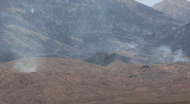 Motorists can see pockets of smoke on the Naval Air Station Fallon side of the Bravo 17 Training Range.