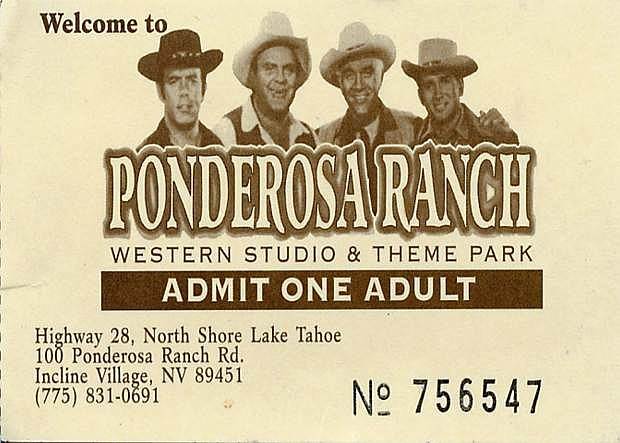 The souvenir ticket from the Ponderosa when it was operational.