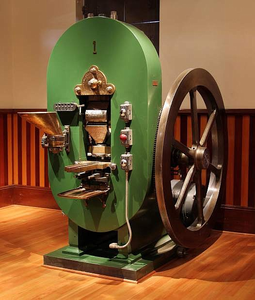 Coin Press No. 1, as it looks today, first came to the Carson City Mint in 1870. It returned to the building, now the Nevada State Museum, in 1958 after the state bought it for $225 from the federal government.