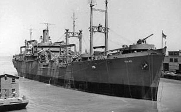 The attack transport USS Ormsby is pictured in 1943 at the Mare Island Naval Base in San Francisco Bay.