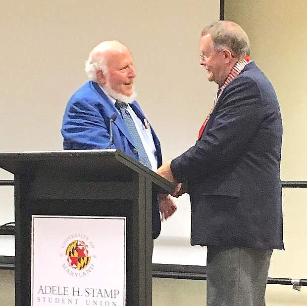 Outgoing president David Gordon, left, congratulates LVN Editor Steve Ranson as he becomes the new president of the International Society of Weekly Newspaper Editors.