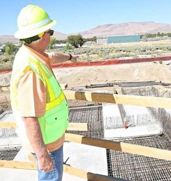 Jim Morris looks over the Waste Water Treatment Plant project last year.