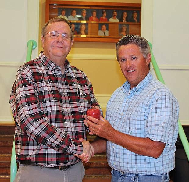 The Churchill County School District Board of Trustees including President Clay Hendrix, right, recognized retiring LVN editor Steve Ranson for three decades of quality coverage as well as for his time as an educator.